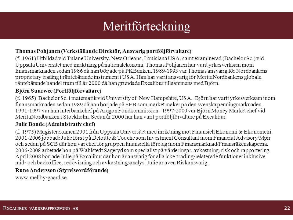 Meritförteckning Thomas Pohjanen (Verkställande Direktör, Ansvarig portföljförvaltare)