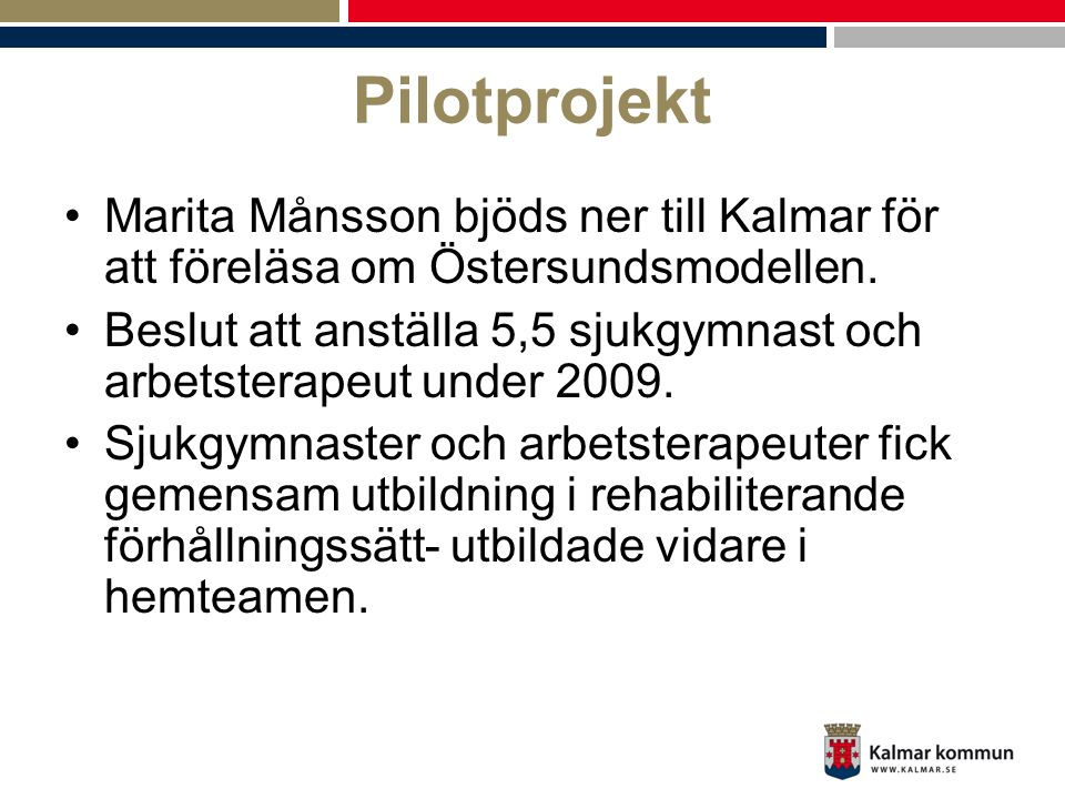Pilotprojekt Marita Månsson bjöds ner till Kalmar för att föreläsa om Östersundsmodellen.