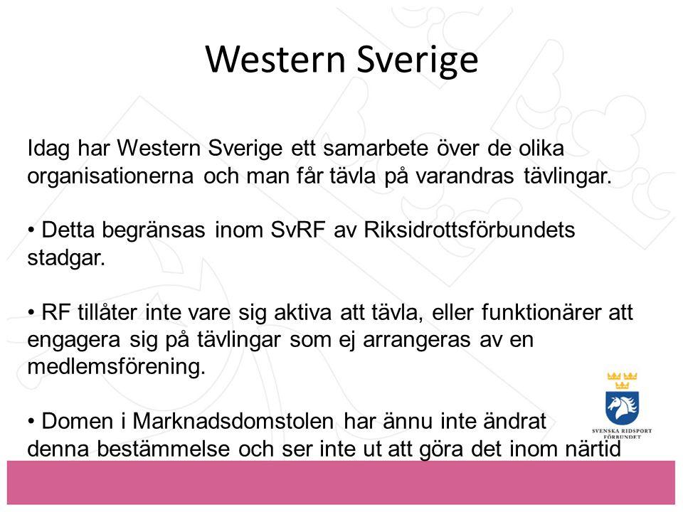 Western Sverige Idag har Western Sverige ett samarbete över de olika organisationerna och man får tävla på varandras tävlingar.