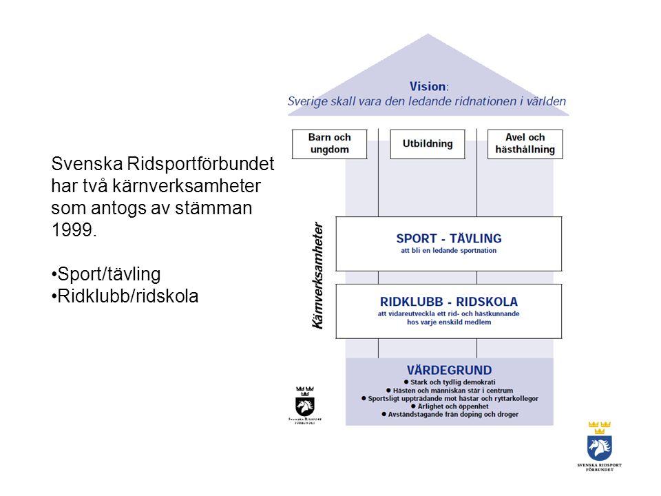 Svenska Ridsportförbundet har två kärnverksamheter som antogs av stämman 1999.