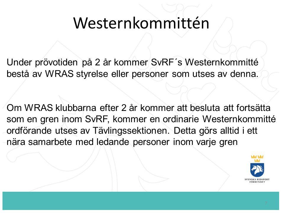 Westernkommittén Under prövotiden på 2 år kommer SvRF´s Westernkommitté. bestå av WRAS styrelse eller personer som utses av denna.