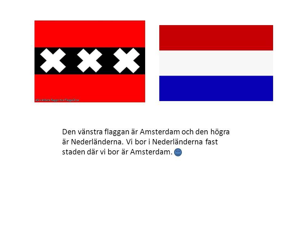 Den vänstra flaggan är Amsterdam och den högra är Nederländerna
