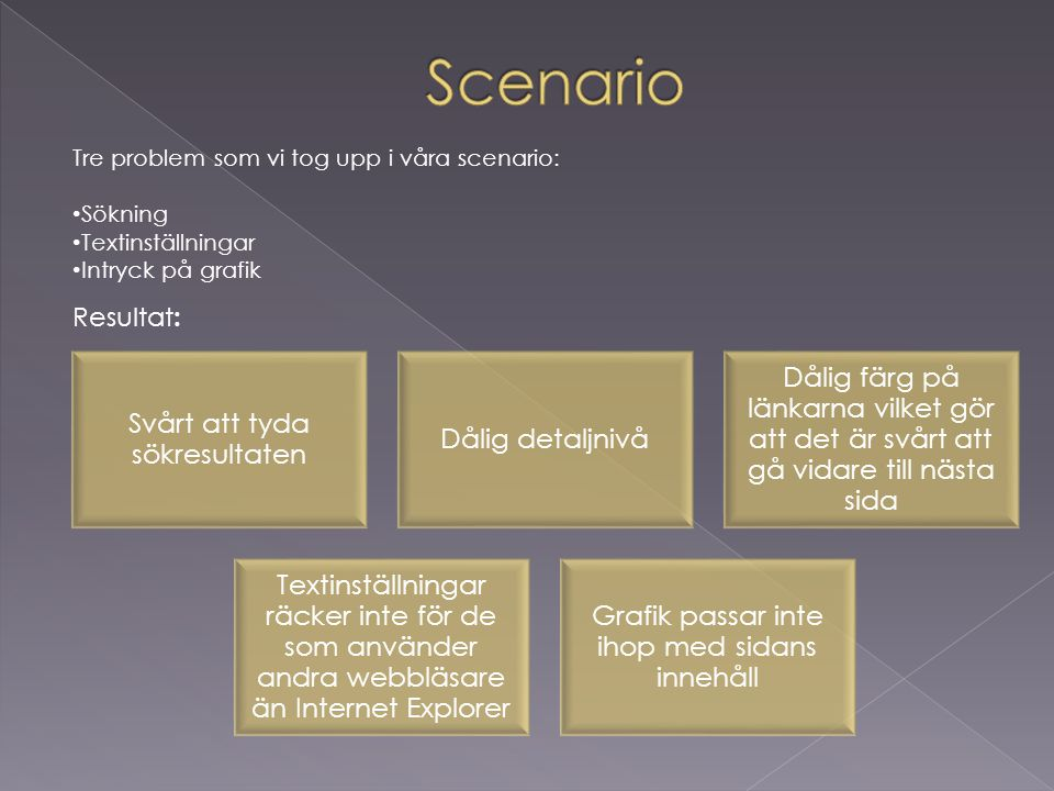Scenario Resultat: Tre problem som vi tog upp i våra scenario: Sökning