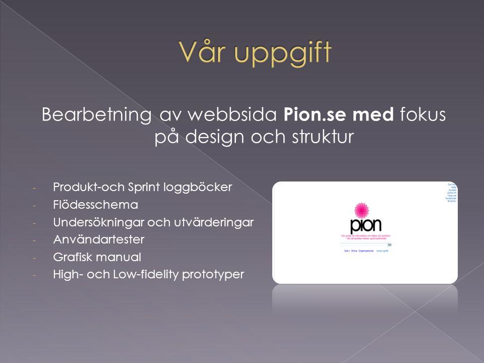 Bearbetning av webbsida Pion.se med fokus på design och struktur