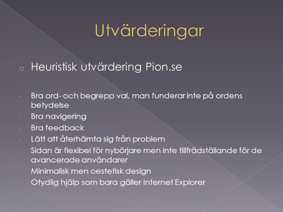 Utvärderingar Heuristisk utvärdering Pion.se