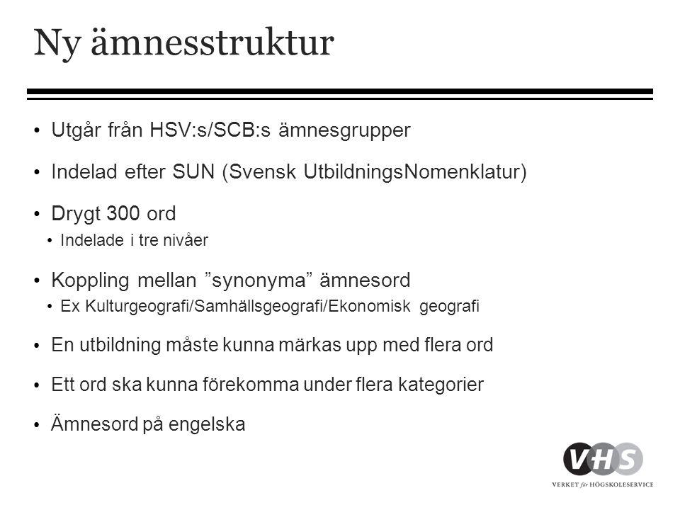 Ny ämnesstruktur Utgår från HSV:s/SCB:s ämnesgrupper