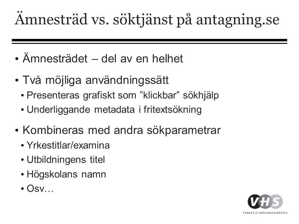 Ämnesträd vs. söktjänst på antagning.se