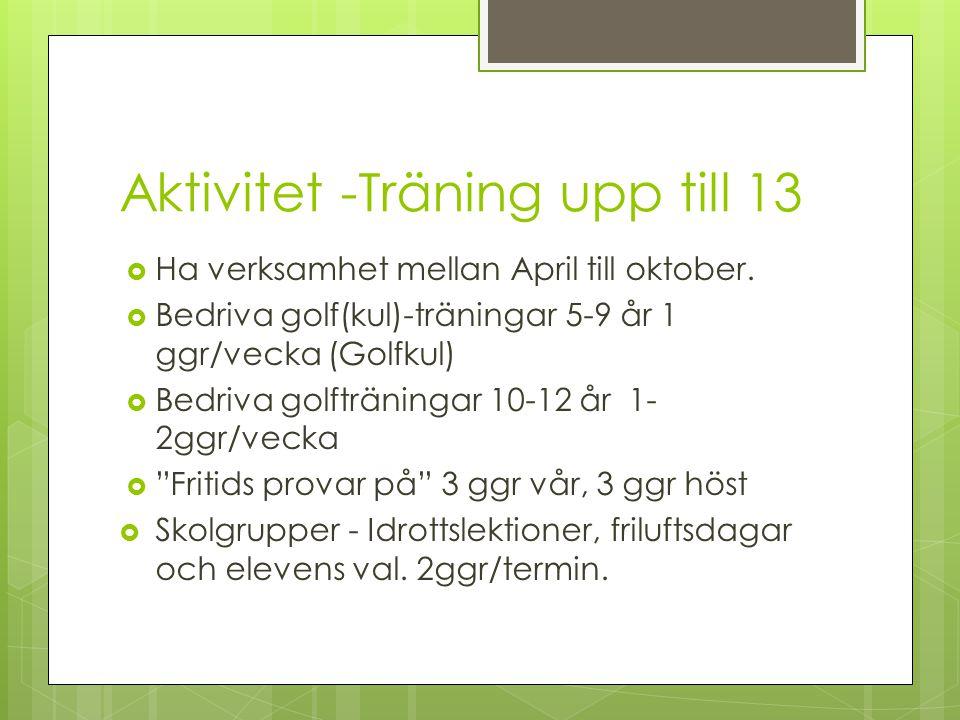 Aktivitet -Träning upp till 13