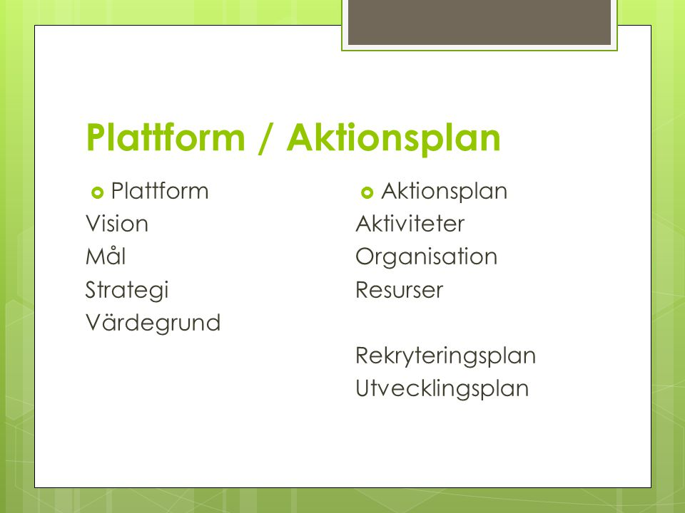 Plattform / Aktionsplan