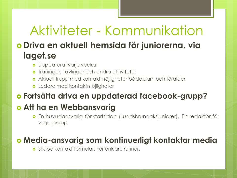 Aktiviteter - Kommunikation