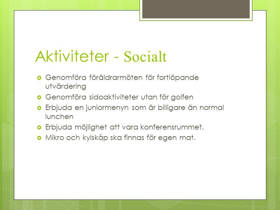 Aktiviteter - Socialt Genomföra föräldrarmöten för fortlöpande utvärdering. Genomföra sidoaktiviteter utan för golfen.