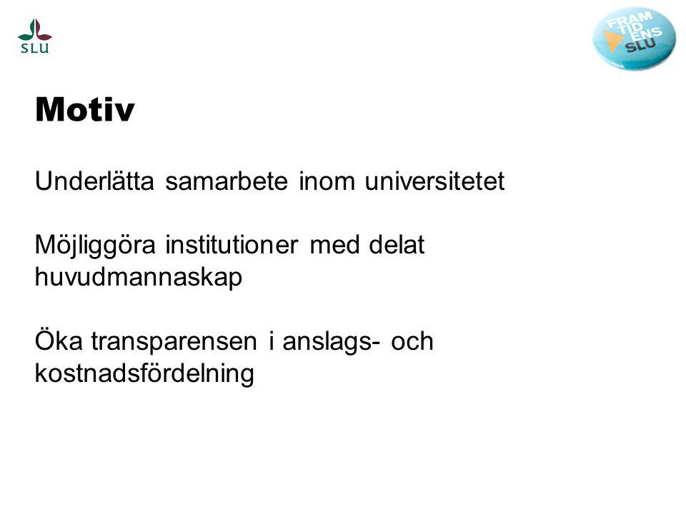 Motiv Underlätta samarbete inom universitetet Möjliggöra institutioner med delat huvudmannaskap Öka transparensen i anslags- och kostnadsfördelning