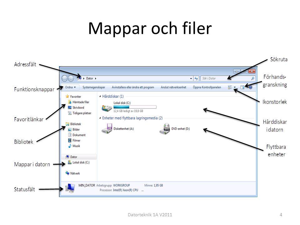 Mappar och filer Datorteknik 1A V2011