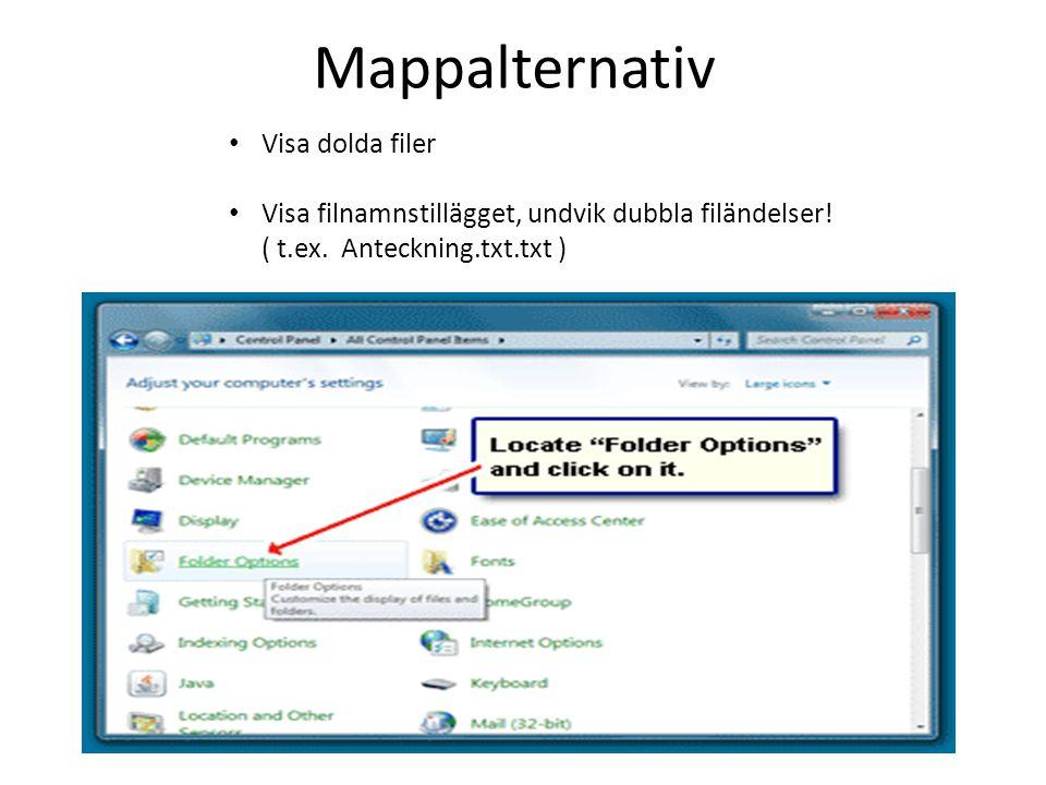 Mappalternativ Visa dolda filer