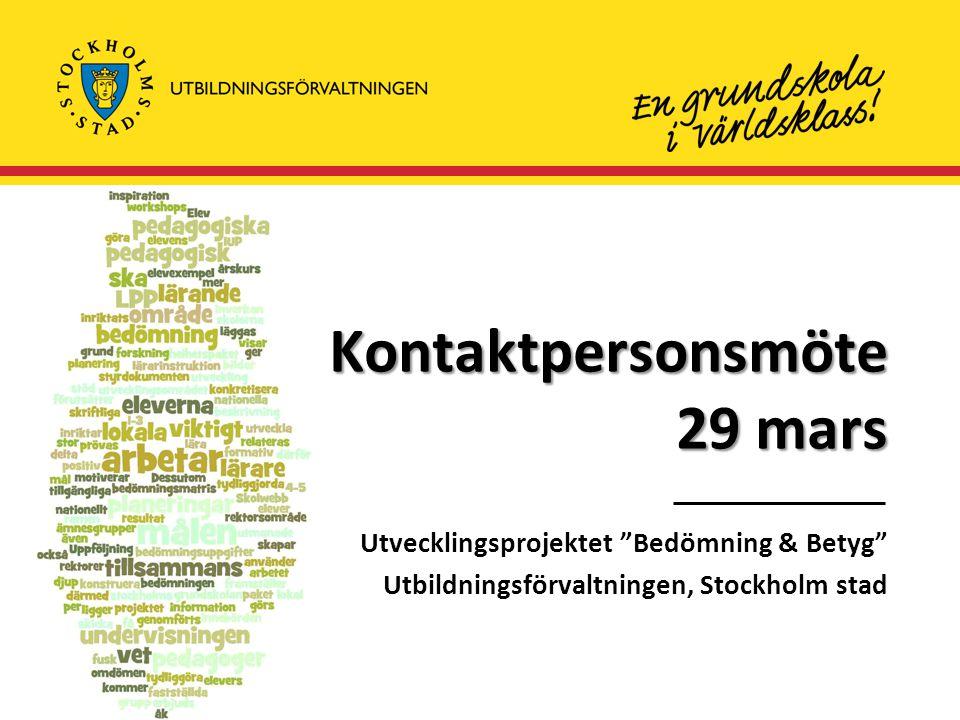 Kontaktpersonsmöte 29 mars