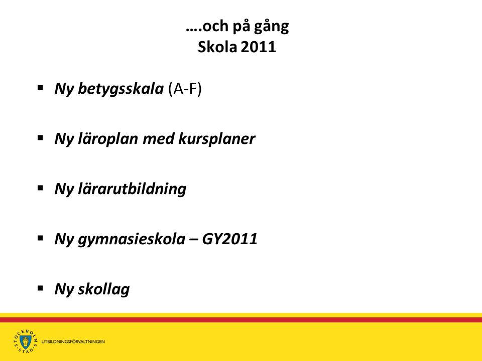 ….och på gång Skola 2011 Ny betygsskala (A-F) Ny läroplan med kursplaner. Ny lärarutbildning. Ny gymnasieskola – GY2011.