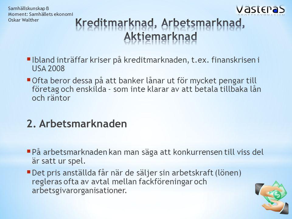 Kreditmarknad, Arbetsmarknad, Aktiemarknad