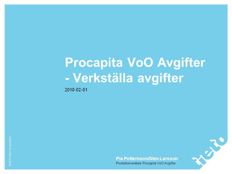 Procapita VoO Avgifter - Verkställa avgifter
