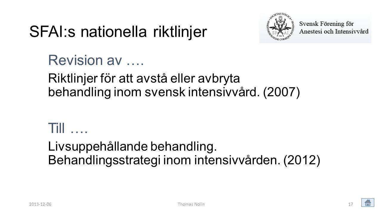 SFAI:s nationella riktlinjer
