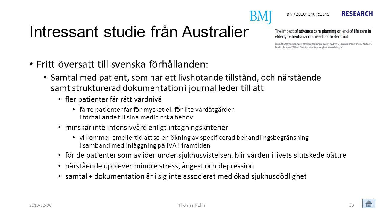 Intressant studie från Australien
