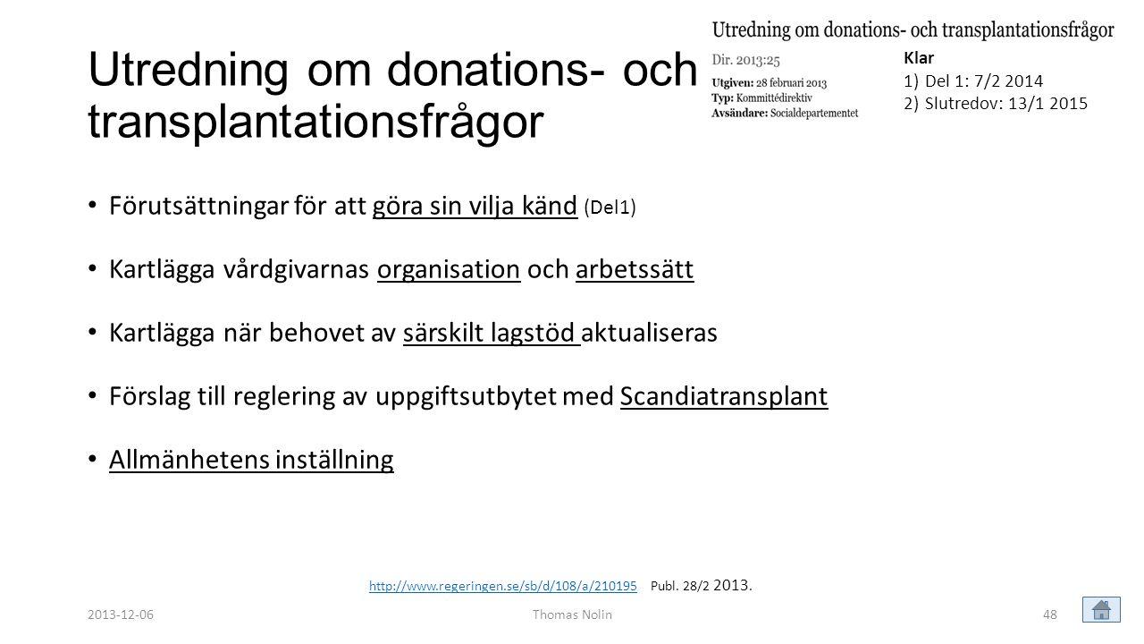 Utredning om donations- och transplantationsfrågor