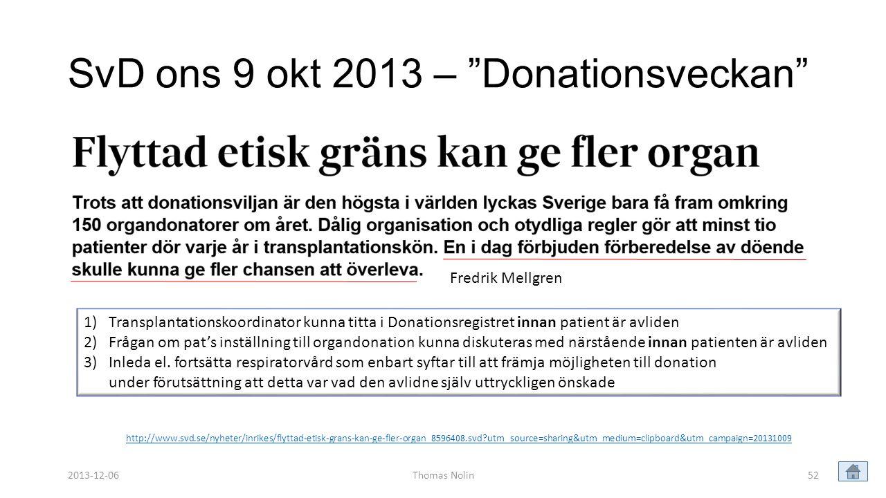 SvD ons 9 okt 2013 – Donationsveckan