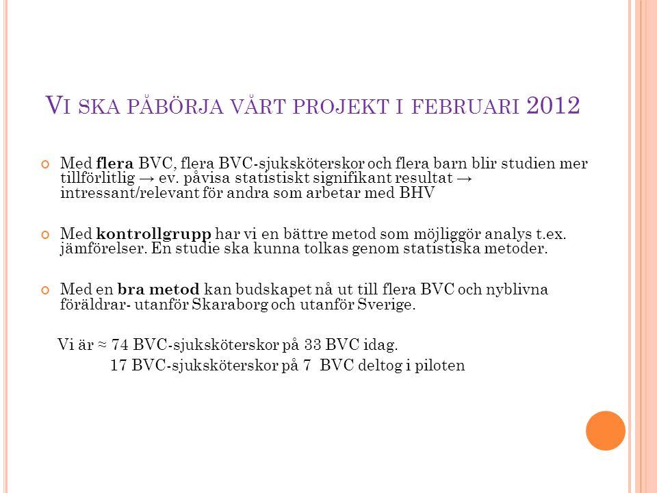 Vi ska påbörja vårt projekt i februari 2012
