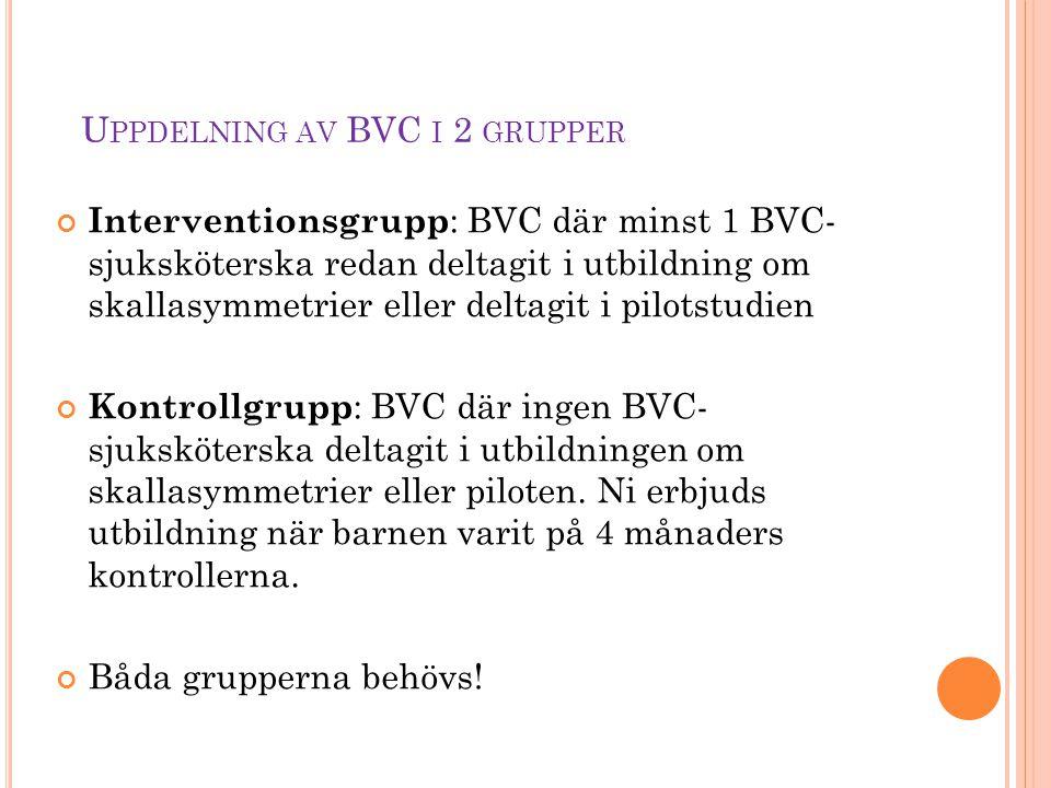 Uppdelning av BVC i 2 grupper