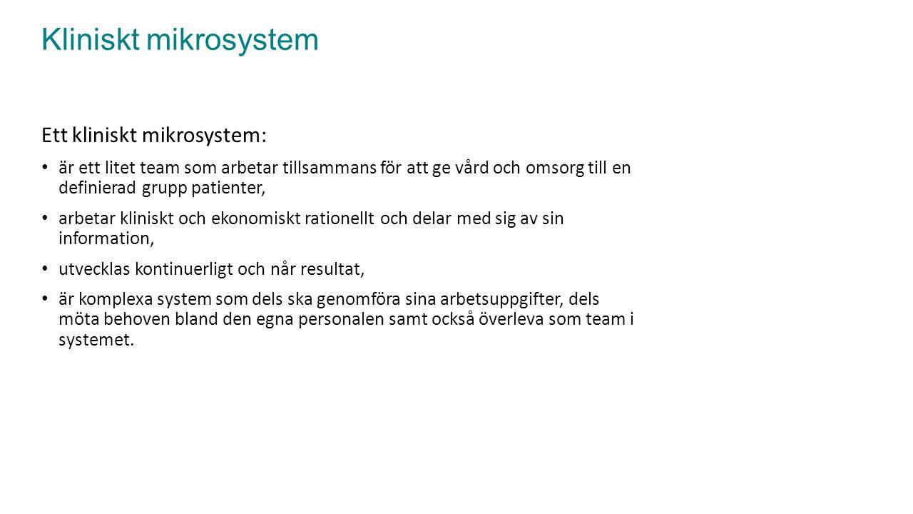 Kliniskt mikrosystem Ett kliniskt mikrosystem: