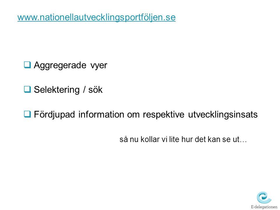 www.nationellautvecklingsportföljen.se Aggregerade vyer. Selektering / sök. Fördjupad information om respektive utvecklingsinsats.