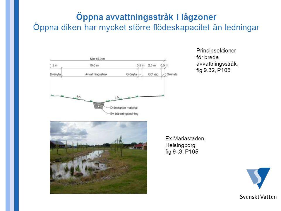 Öppna avvattningsstråk i lågzoner Öppna diken har mycket större flödeskapacitet än ledningar