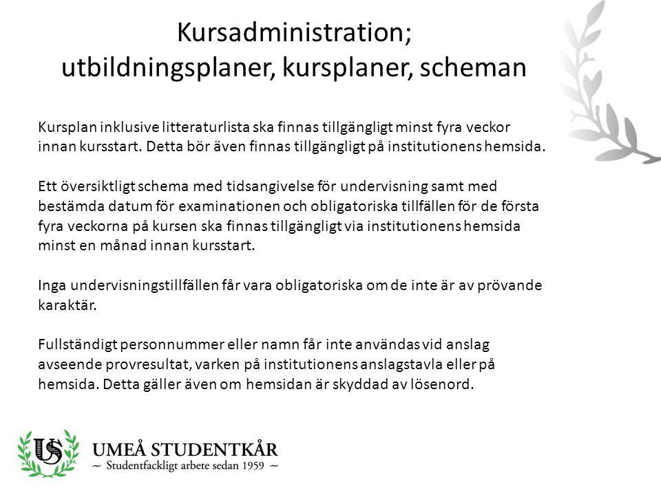 Kursadministration; utbildningsplaner, kursplaner, scheman