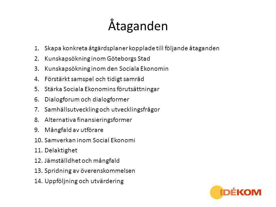 Åtaganden Skapa konkreta åtgärdsplaner kopplade till följande åtaganden. Kunskapsökning inom Göteborgs Stad.