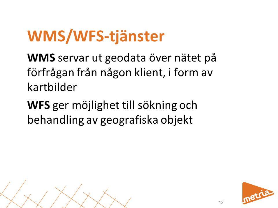 WMS/WFS-tjänster WMS servar ut geodata över nätet på förfrågan från någon klient, i form av kartbilder.