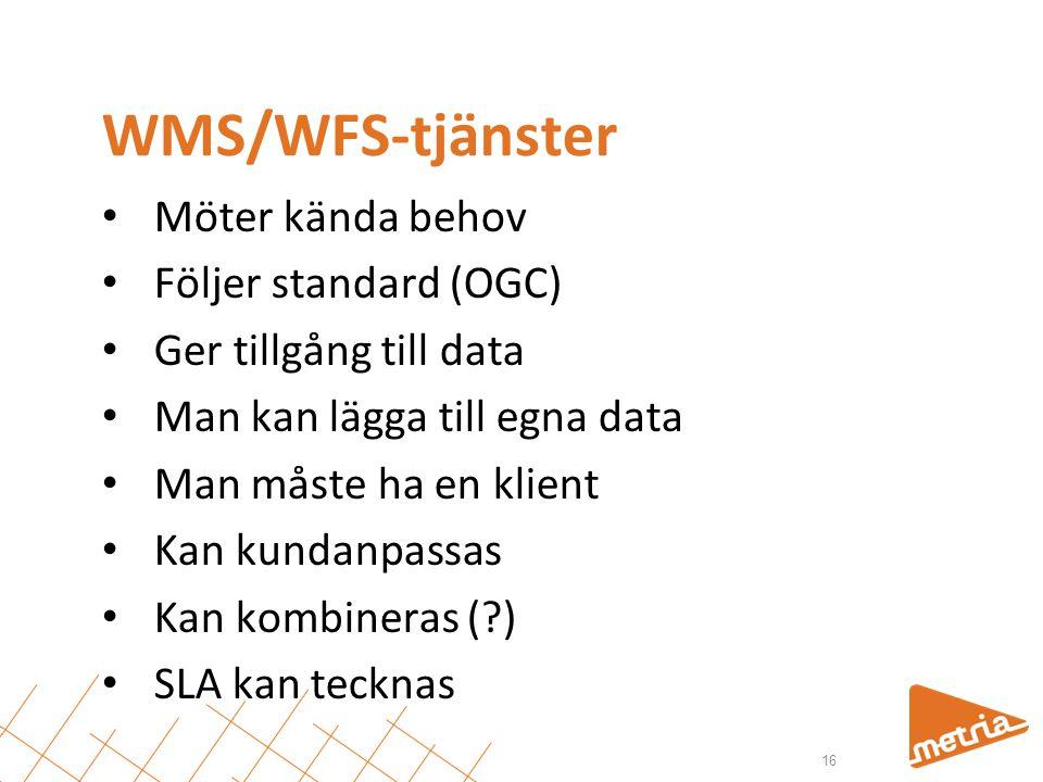WMS/WFS-tjänster Möter kända behov Följer standard (OGC)