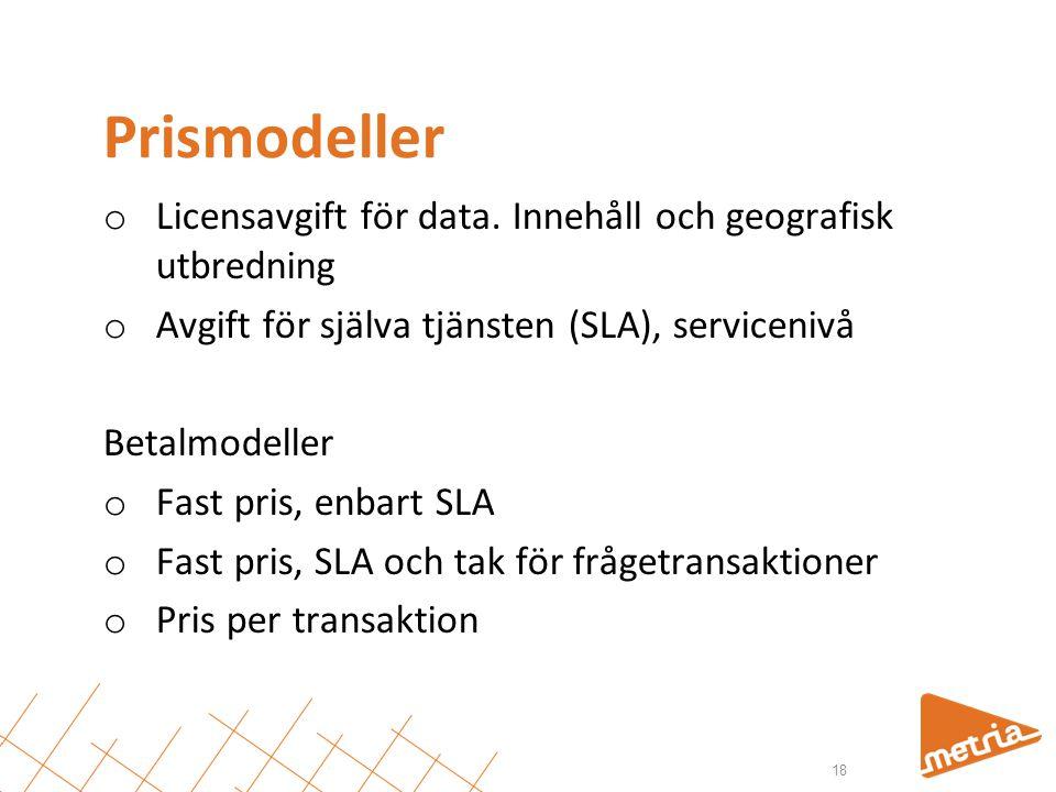 Prismodeller Licensavgift för data. Innehåll och geografisk utbredning