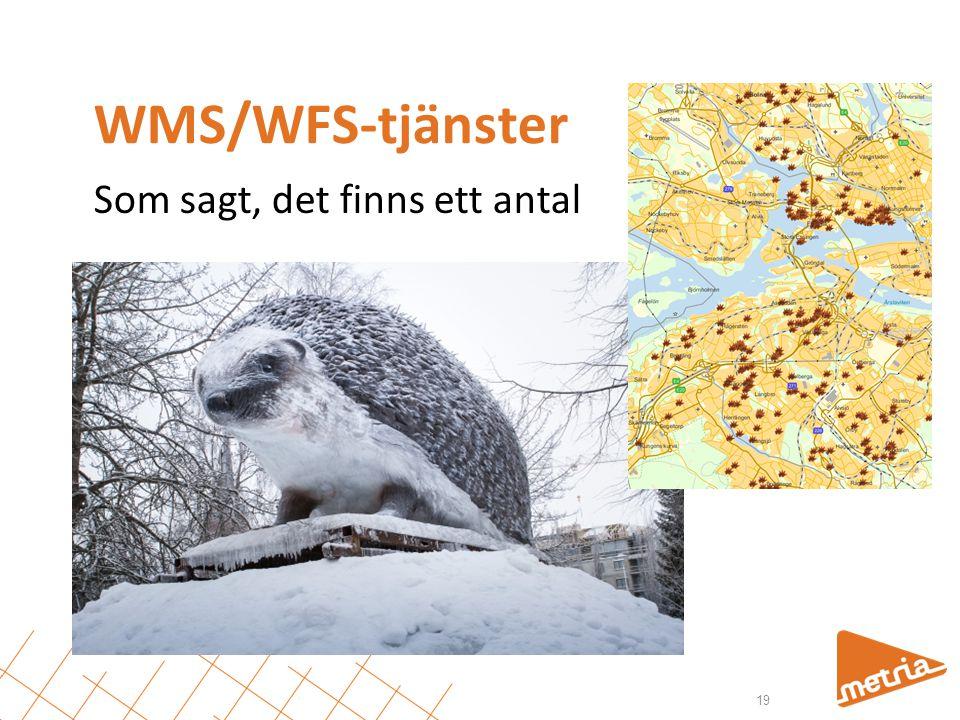 WMS/WFS-tjänster Som sagt, det finns ett antal