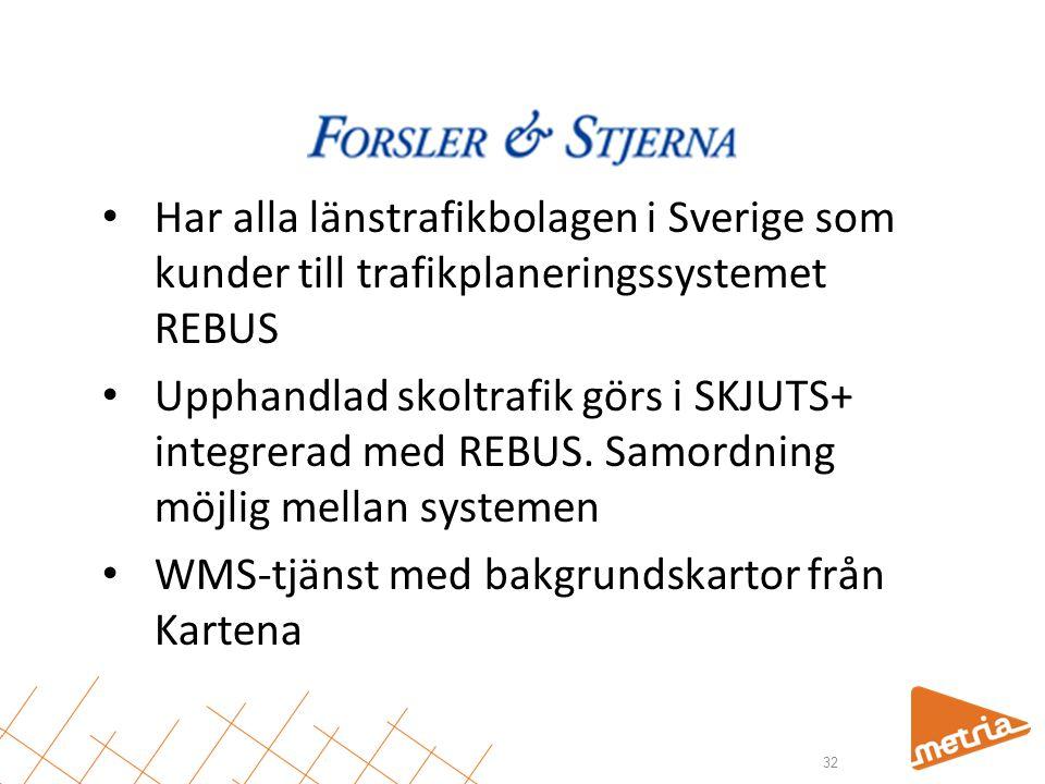 Har alla länstrafikbolagen i Sverige som kunder till trafikplaneringssystemet REBUS