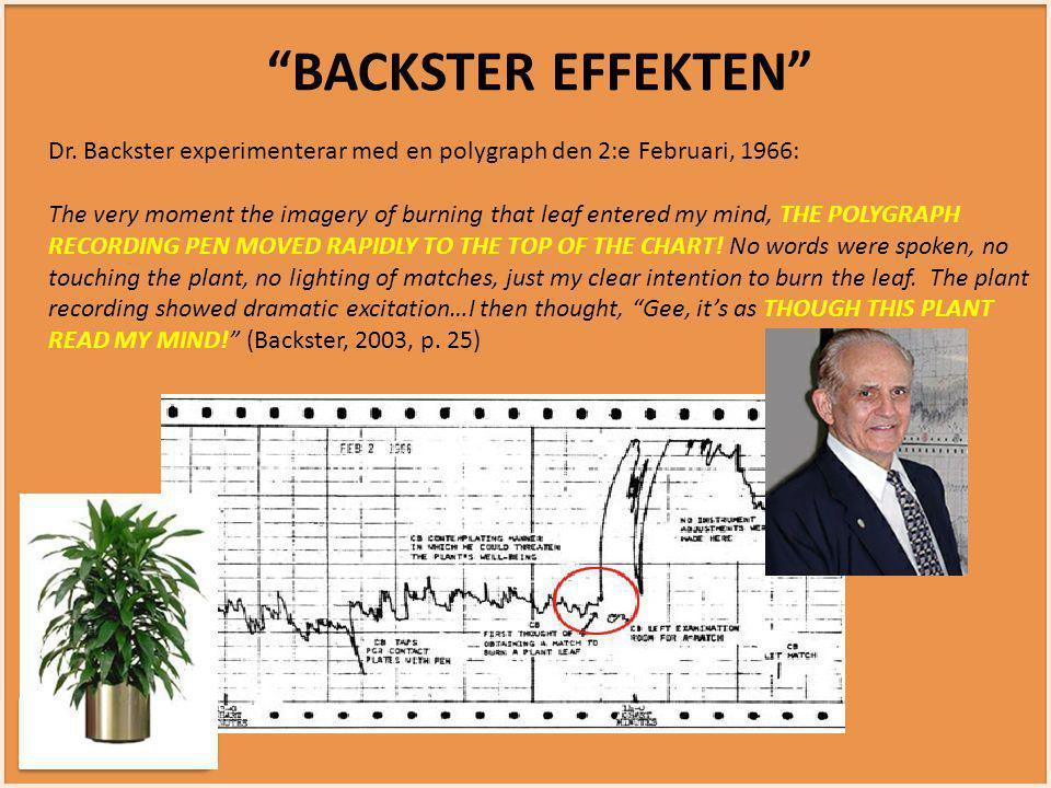 BACKSTER EFFEKTEN Dr. Backster experimenterar med en polygraph den 2:e Februari, 1966: