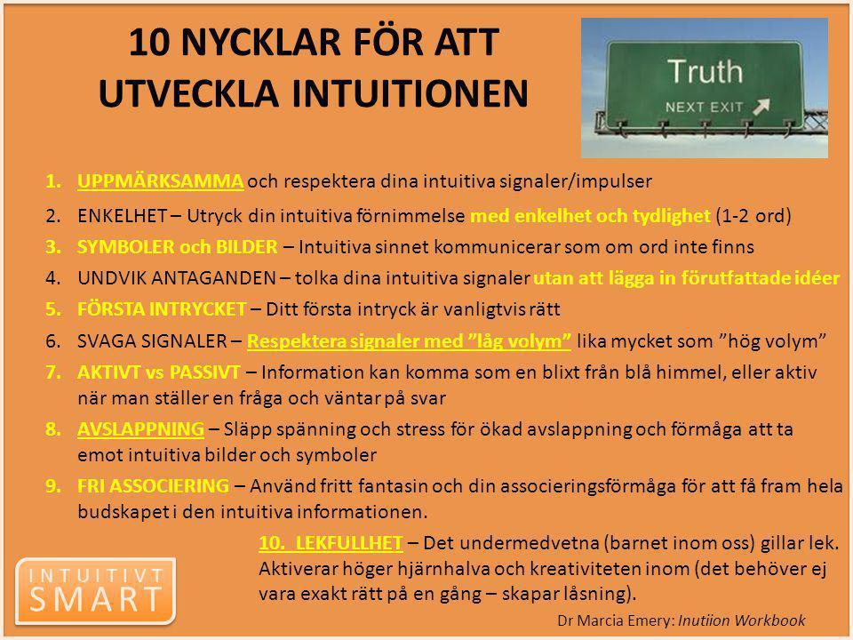 10 NYCKLAR FÖR ATT UTVECKLA INTUITIONEN