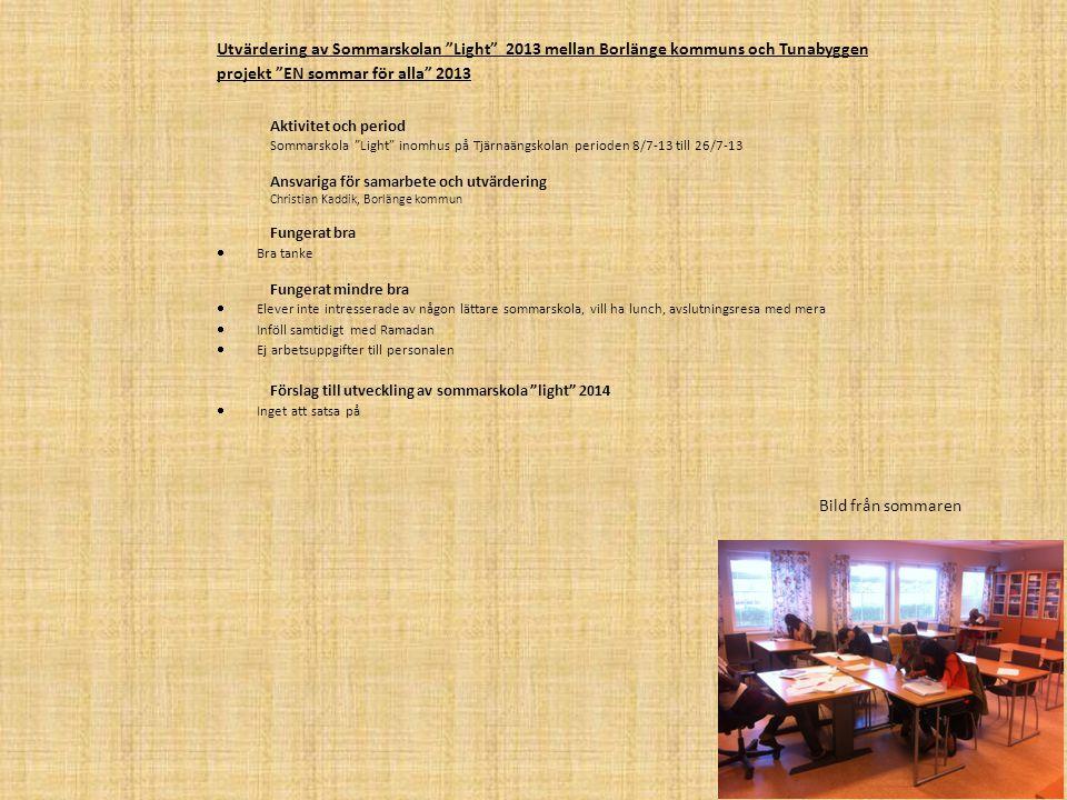 Utvärdering av Sommarskolan Light 2013 mellan Borlänge kommuns och Tunabyggen projekt EN sommar för alla 2013
