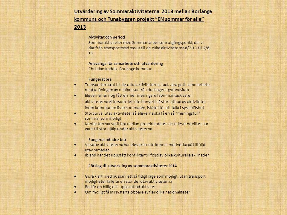 Utvärdering av Sommaraktiviteterna 2013 mellan Borlänge kommuns och Tunabyggen projekt EN sommar för alla 2013