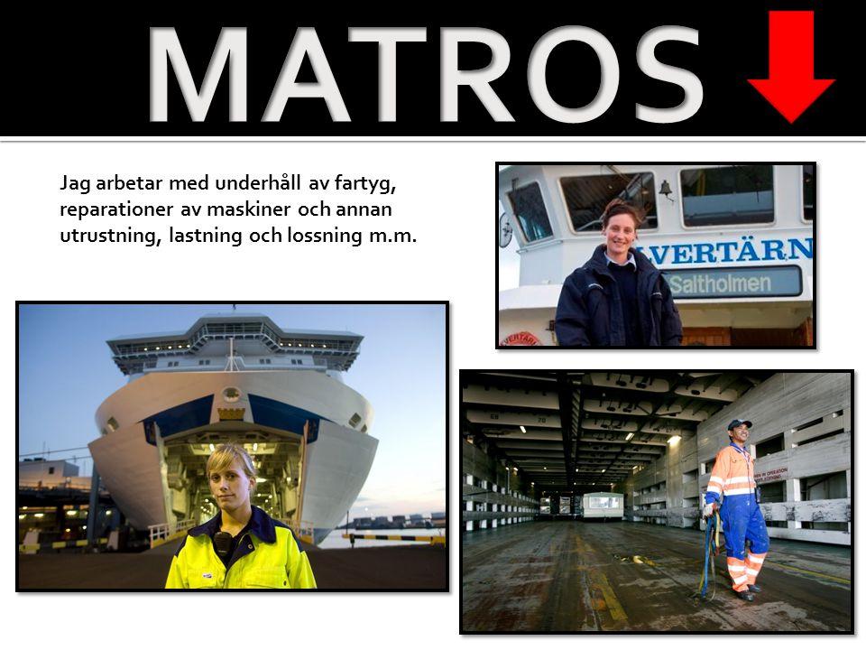 MATROS Jag arbetar med underhåll av fartyg, reparationer av maskiner och annan utrustning, lastning och lossning m.m.