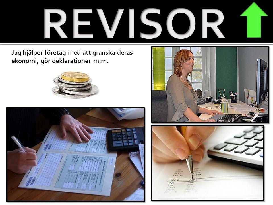 REVISOR Jag hjälper företag med att granska deras ekonomi, gör deklarationer m.m.