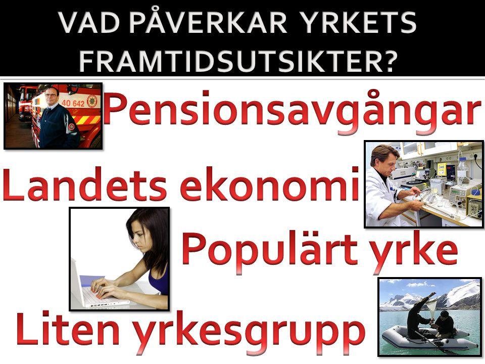 Pensionsavgångar Landets ekonomi! Populärt yrke Liten yrkesgrupp