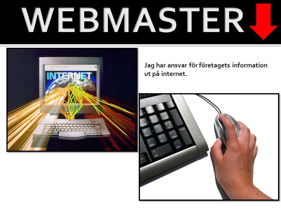 WEBMASTER Jag har ansvar för företagets information ut på internet.