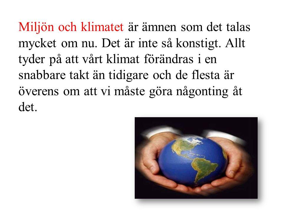 Miljön och klimatet är ämnen som det talas mycket om nu