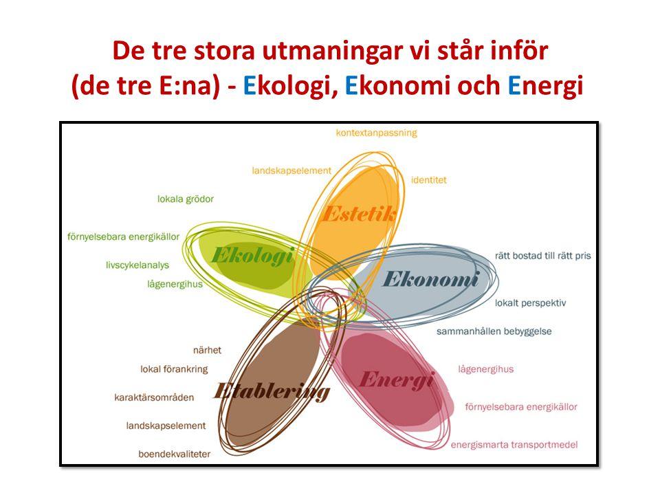 De tre stora utmaningar vi står inför (de tre E:na) - Ekologi, Ekonomi och Energi
