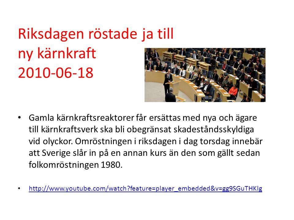 Riksdagen röstade ja till ny kärnkraft 2010-06-18