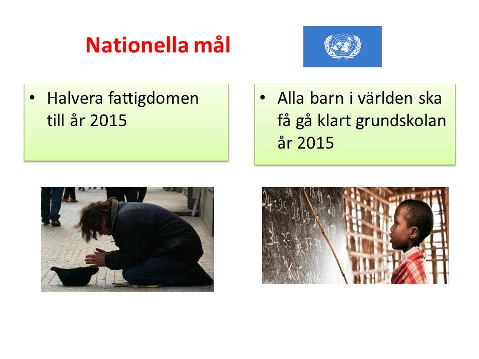 Nationella mål Halvera fattigdomen till år 2015